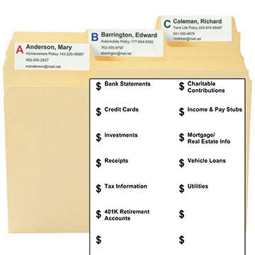 MO Financial Kit Labels & Template
