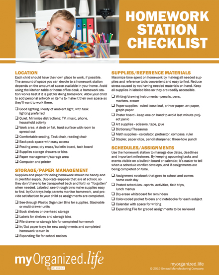 Checklist: Setting Up a Homework Station