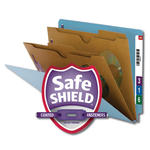 Smead End Tab Classification File Folder with SafeSHIELD® Fasteners 26711, 2 Pocket-Style Dividers, Letter, Blue