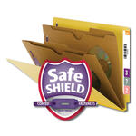 Smead End Tab Classification File Folder with SafeSHIELD® Fasteners 26719, 2 Pocket-Style Dividers, Letter, Yellow
