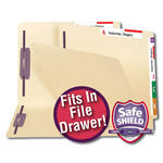 Smead End Tab Dual Tab Fastener File Folder with SafeSHIELD® 34109, 2 Fasteners, Reinforced Straight-Cut End and Top Tabs, Letter, Manila