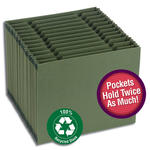 Smead 100% Recycled Expanding File with Double Capacity Pockets 70762, Alphabetic/Monthly/Daily/Household/Blank Labels, 12 Pockets, Letter, Evergreen