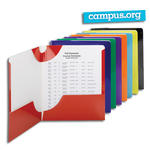 Smead Campus.org Lockit® Two-Pocket File Folder 87997, Up to 50 Sheets, Letter, Assorted Colors