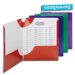 Smead Campus.org Lockit® Two-Pocket File Folder 87998, Up to 50 Sheets, Letter, Assorted Colors