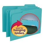 Smead Interior File Folder 10235, 1/3-Cut Tab, Letter, Aqua