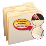 Smead WaterShed®/CutLess® File Folder 10343, 1/3-Cut Tab, Letter, Manila