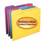 Smead File Folder with Antimicrobial Product Protection 10349, 1/3-Cut Tab, Letter, Assorted Colors