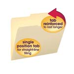 Smead File Folder 10376, Reinforced 2/5-Cut Right of Center Tab, Guide Height, Letter, Manila