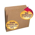 Smead File Folder 10710, Reinforced Straight-Cut Tab, Letter, Kraft
