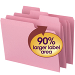 Smead SuperTab® File Folder 11819, Oversized 1/3-Cut Tab, Letter, Dark Pink