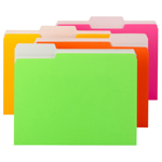 Smead File Folder 11925, 1/3-Cut Tab, Letter, Assorted Neon Colors