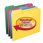 Smead WaterShed®/CutLess® File Folder 11951, 1/3-Cut Tab, Letter, Assorted Colors