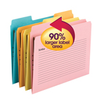 Smead SuperTab® Notes Folder, One Fastener, 1/3-Cut Tab, Assorted Colors, 2-ply Tabs, 24 per Pack