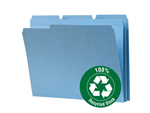Smead 100% Recycled File Folder 12038, Reinforced 1/3-Cut Tab, Letter, Blue