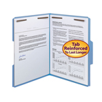 Smead WaterShed®/CutLess® Fastener File Folder 12042, 2 Fasteners, Reinforced 1/3--Cut Tab, Letter, Blue