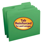 Smead File Folder 12134, Reinforced 1/3-Cut Tab, Letter, Green