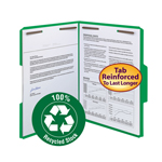 Smead 100% Recycled Fastener File Folder 12141, 2 Fasteners, Reinforced 1/3-Cut Tab, Letter, Green
