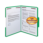 Smead WaterShed®/CutLess® Fastener File Folder 12142, 2 Fasteners, Reinforced 1/3--Cut Tab, Letter, Green