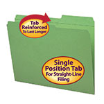 Smead File Folder 12186, Reinforced 2/5-Cut Tab Right Position, Guide Height, Letter, Green