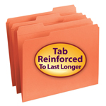 Smead File Folder 12534, Reinforced 1/3-Cut Tab, Letter, Orange
