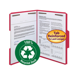 Smead 100% Recycled Fastener File Folder 12741, 2 Fasteners, Reinforced 1/3-Cut Tab, Letter, Red