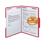 Smead WaterShed®/CutLess® Fastener File Folder 12742, 2 Fasteners, Reinforced 1/3--Cut Tab, Letter, Red