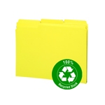 Smead 100% Recycled File Folder 12938, Reinforced 1/3-Cut Tab, Letter, Yellow