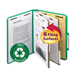 Smead 100% Recycled Pressboard Classification Folder 14057, 2 Dividers, 2