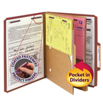 Smead Pressboard Classification File Folder with Pocket Divider and SafeSHIELD® Fasteners 14079, 2 Dividers, 2