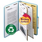 Smead 100% Recycled Pressboard Classification Folder 19021, 2 Dividers, 2