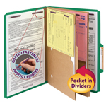 Smead Pressboard Classification File Folder with Wallet Divider and SafeSHIELD® Fasteners 19083, 2 Dividers, 2