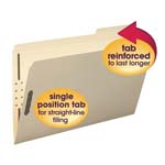 Smead Fastener File Folder 19538, 2 Fasteners, Reinforced 1/3-Cut Tab Right Position, Legal, Manila