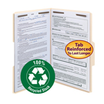 Smead 100% Recycled Fastener Folder 19547, 2 Fasteners, Reinforced 1/3-Cut Tab, Legal, Manila