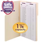 Smead Extra-Capacity Manila Fastener Folders with SafeSHIELD® Coated Fastener Technology 19575, 1/3-Cut Tab, Legal