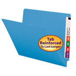 Smead End Tab File Folder 25010, Shelf-Master® Reinforced Straight-Cut Tab, Letter, Blue