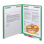 Smead End Tab Fastener File Folder 25140, Shelf-Master® Reinforced Straight-Cut Tab, 2 Fasteners, Letter, Green