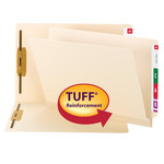 Smead TUFF® Laminated End Tab Fastener Folder 34105, Shelf-Master® Reinforced Straight-Cut Tab, Letter, Manila