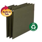 Smead 100% Recycled FasTab® Hanging Folder 64037, 1/3-Cut Built-In Tab, Letter, Standard Green