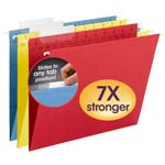 Smead TUFF® Hanging Folder with Easy Slide™ Tab 64040, 1/3-Cut Sliding Tab, Letter, Assorted Colors