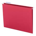 Smead Hanging File Folder with Tab 64067, 1/5-Cut Adjustable Tab, Letter, Red