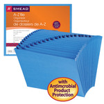 Smead Expanding File with Antimicrobial Product Protection 70727, Alphabetic (A-Z), 21 Pockets, Letter, Blue