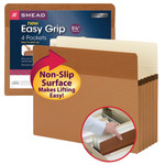 "Smead Easy Grip® File Pocket 73219, Straight-Cut Tab, 5-1/4"" Expansion, Letter, Redrope"