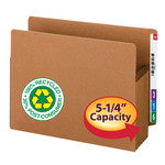 Smead End Tab 100% Recycled File Pocket 73620, Straight-Cut Tab, 5-1/4