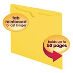 Smead File Jacket 75511, Reinforced Straight-Cut Tab, Flat-No Expansion, Letter, Yellow