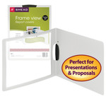 Smead Frame View Poly Report Cover with Swing Clip 86041, Side Fastener, Up to 30 Sheets, Letter (Landscape Orientation), Oyster/Clear Front