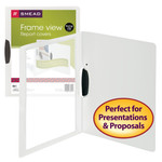 Smead Frame View Poly Report Cover with Swing Clip 86044, Side Fastener, Up to 30 Sheets, Letter (Portrait Orientation), Oyster/Clear Front