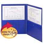 Smead Poly Two-Pocket Folder with Security Pocket 87701, Holds up to 100 Sheets, Letter, Blue