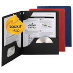 Smead Lockit® Two-Pocket File Folder 87979, Up to 50 Sheets, Letter, Textured Assorted Colors