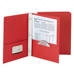 Smead Economy Two-Pocket File Folder 88024, Tang Strip Style Fastener, Fastener-Up to 80 Sheets/Pockets-Up to 100 Sheets, Letter, Red