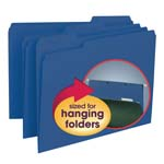 Smead Interior File Folder 10279, 1/3-Cut Tab, Letter, Navy